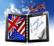 Aprenda el inglés - tableta stock de ilustración