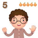 Aprenda el número y la cuenta con la mano de los kid's que muestra el número f Fotos de archivo