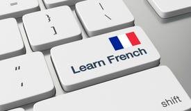 Aprenda em linha francês imagens de stock royalty free