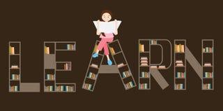 Aprenda la lectura de la muchacha del estante de librería en el top stock de ilustración