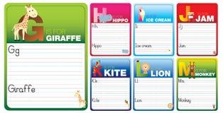 Aprenda leer y escribir tarjetas stock de ilustración