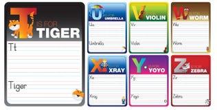 Aprenda leer y escribir tarjetas ilustración del vector