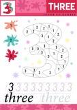 Aprenda los números 3 tres Los niños aprenden contar la hoja de trabajo Juego educativo de los niños para los números Ilustración stock de ilustración