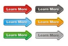 Aprenda más - los botones de la flecha Imagen de archivo libre de regalías