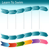 Aprenda nadar a corrediça Fotos de Stock