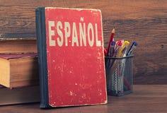 Aprenda o conceito espanhol fotografia de stock