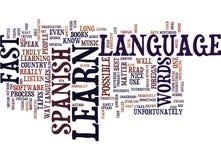 Aprenda o conceito rápido espanhol da nuvem da palavra do fundo do texto ilustração royalty free