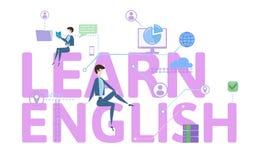 Aprenda o inglês Tabela do conceito com povos, letras e ícones Ilustração lisa colorida do vetor no fundo branco ilustração do vetor