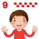 Aprenda o número e a contagem com a mão dos kid's que mostra o número n Imagens de Stock Royalty Free