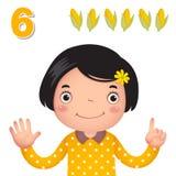 Aprenda o número e a contagem com a mão dos kid's que mostra o número s ilustração royalty free