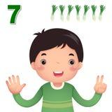 Aprenda o número e a contagem com a mão dos kid's que mostra o número s Imagem de Stock