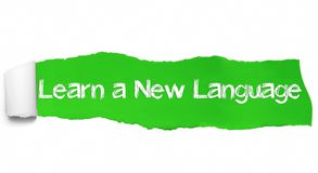 Aprenda um texto novo da língua, o conceito da inspiração, da motivação e do negócio no papel rasgado verde fotos de stock royalty free