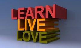 Aprenda, vivo e amor ilustração stock