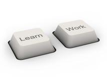 Aprenda y trabaje los botones Imagen de archivo libre de regalías