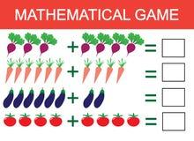 Aprendendo a adição pelo exemplo dos vegetais para crianças, contando a atividade Jogo educacional da matemática para crianças Ve ilustração royalty free