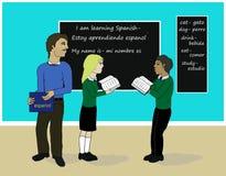 Aprendendo a classe espanhola ilustração do vetor