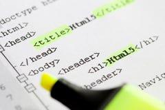Aprendendo como construir um Web page - Html5/Css3 Imagens de Stock Royalty Free