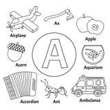 Aprendendo o alfabeto do cartão ilustração stock