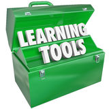 Aprendendo o estudante de ensino da educação escolar da caixa de ferramentas das palavras das ferramentas Foto de Stock Royalty Free