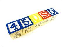 Aprendendo os blocos fazem 45 USD de linha Imagens de Stock