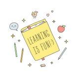 Aprender é divertimento! ilustração bonito da garatuja do livro ilustração royalty free