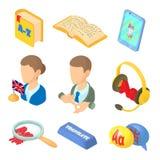 Aprender ícones das línguas estrangeiras ajustou o estilo dos desenhos animados Imagem de Stock