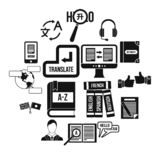 Aprender ícones das línguas estrangeiras ajustou-se, estilo simples ilustração stock