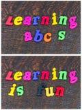 Aprendiendo la escuela de la diversión del deletreo pone letras a alfabeto Foto de archivo libre de regalías