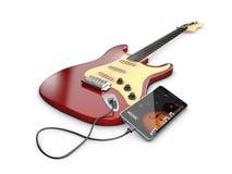 Aprendiendo la guitarra en línea App musical, ejemplo 3d Foto de archivo libre de regalías