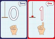 aprendiendo los números 0-10, tarjetas flash, actividades preescolares educativas Imagenes de archivo