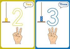 aprendiendo los números 0-10, tarjetas flash, actividades preescolares educativas stock de ilustración