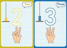aprendiendo los números 0-10, tarjetas flash, actividades preescolares educativas Fotografía de archivo libre de regalías