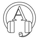Aprendizado de línguas no ícone dos fones de ouvido ilustração stock