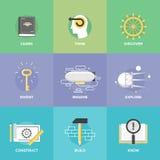 Aprendizagem criativa e ícones lisos da imaginação Imagens de Stock