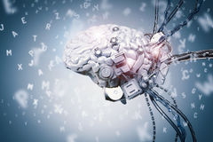 Aprendizagem do cérebro do robô imagens de stock royalty free
