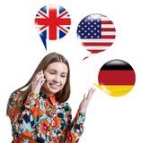 Aprendizagem do conceito das línguas estrangeiras Foto de Stock