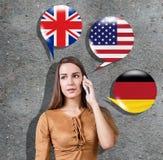 Aprendizagem do conceito das línguas estrangeiras Fotos de Stock Royalty Free