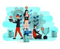 Aprendizagem em linha com Internet e portátil, estudante Studying Around Pile do livro Cara da educação 4 Ilustração do vetor par ilustração royalty free