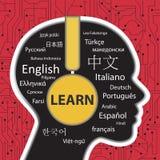 Aprendizagem falar o conceito diferente das línguas ilustração royalty free