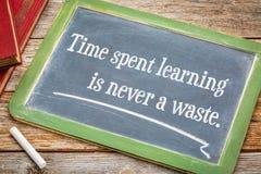 Aprendizagem gastada tempo nunca em um desperdício foto de stock royalty free
