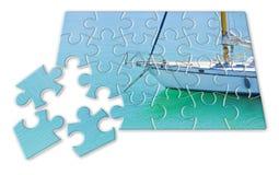 Aprendizagem montar ponto por ponto em uma imagem do conceito do veleiro - na forma do enigma ilustração stock