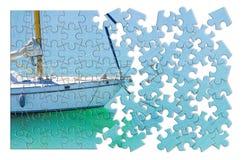 Aprendizagem montar ponto por ponto em uma imagem do conceito do veleiro - em p fotos de stock
