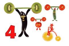 Aprendizaje contar Figuras de la historieta de verduras y de frutas, como Foto de archivo libre de regalías