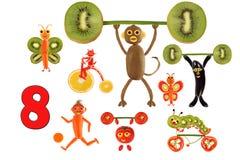 Aprendizaje contar Figuras de la historieta de verduras y de frutas, como Fotos de archivo libres de regalías