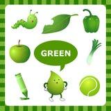 Aprendizaje de color verde ilustración del vector