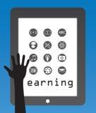 Aprendizaje de concepto con los apps y la mano humana Foto de archivo libre de regalías