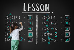 Aprendizaje de concepto de enseñanza del cálculo de las matemáticas de la educación Foto de archivo libre de regalías