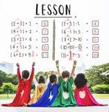 Aprendizaje de concepto de enseñanza del cálculo de las matemáticas de la educación Imagen de archivo libre de regalías