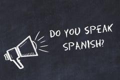 Aprendizaje de concepto de los idiomas extranjeros Marque el símbolo con tiza del altavoz con frase usted hablan español libre illustration