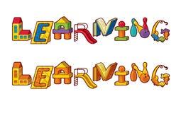 Aprendizaje de la palabra. Letras hechas de juguetes stock de ilustración